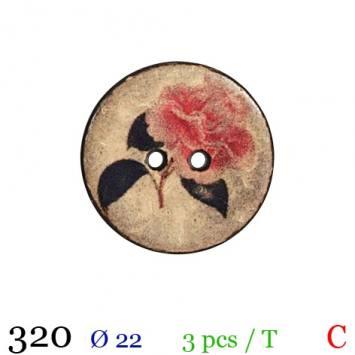 Bouton bois rond motif rose 2 trous 22mm
