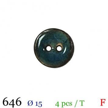 Bouton nacré bleu 2 trous 15mm