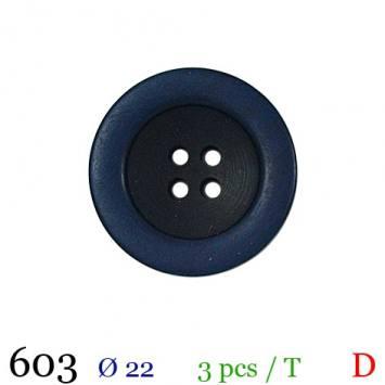 Bouton aspect bois bleu rond 4 trous 22mm