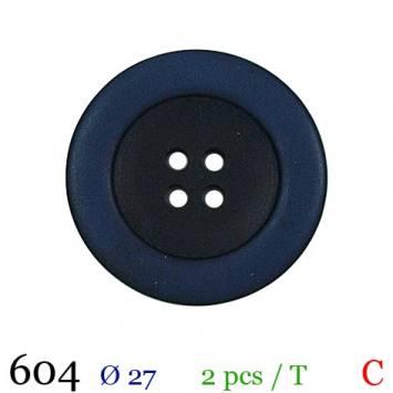 Bouton aspect bois bleu rond 4 trous 27mm