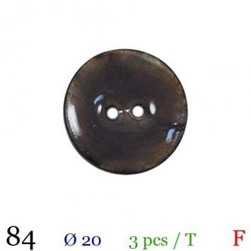 Bouton laqué gris 2 trous 20mm