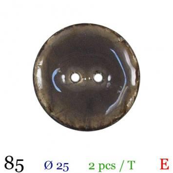 Bouton laqué gris 2 trous 25mm