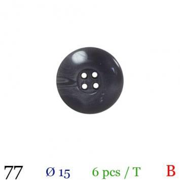 Bouton gros bord gris rond 4 trous 15mm