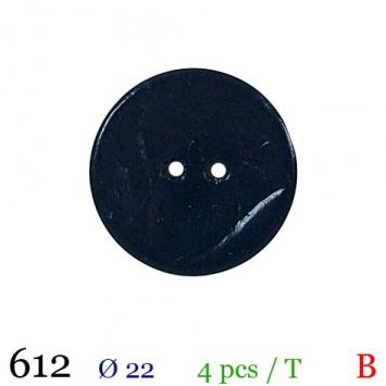 Bouton bleu foncé mate rond 2 trous 22mm