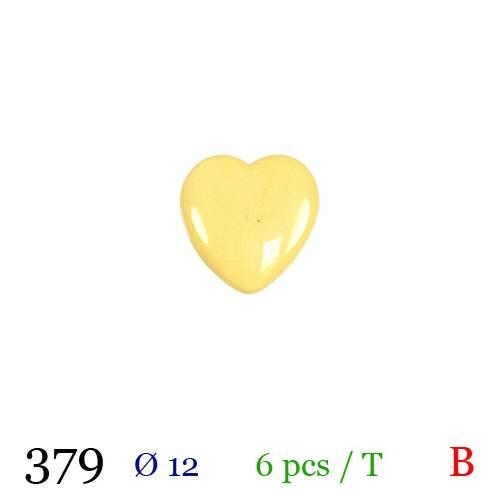 Bouton coeur jaune à queue 12mm