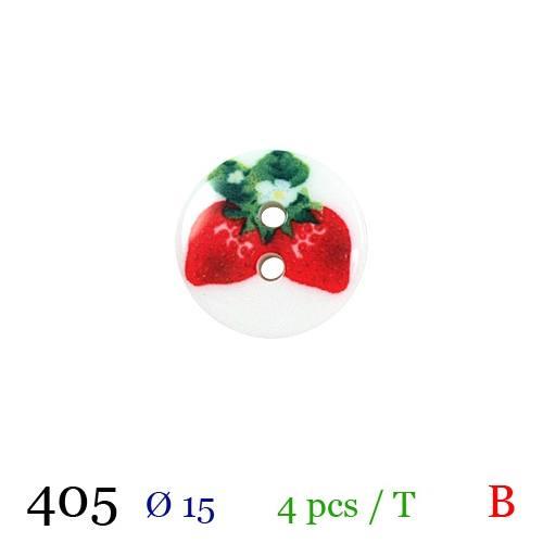 Bouton blanc fraise rond 2 trous 15mm