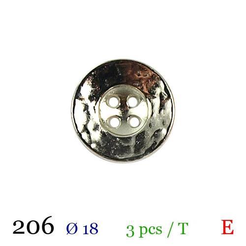 Bouton doré métal rond 4 trous 18mm