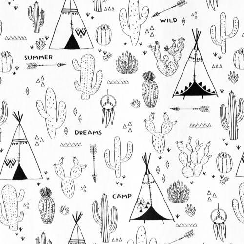 Tissu coton à colorier motif cactus