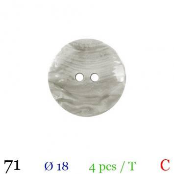 Bouton nacré gris rond 2 trous 18mm