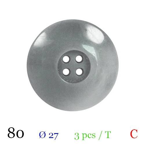 Bouton gros bord gris rond 4 trous 27mm