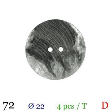 Bouton nacré gris rond 2 trous 22mm