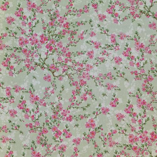 Toile polycoton verte aspect lin imprimé fleurs