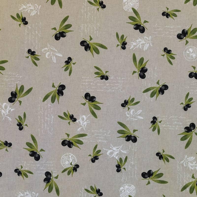 toile polycoton aspect lin imprim olives pas cher tissus price. Black Bedroom Furniture Sets. Home Design Ideas