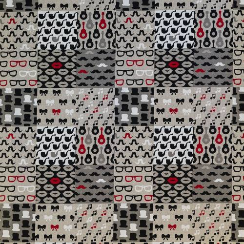Toile polycoton aspect lin imprimé patchwork rouge, noir et gris