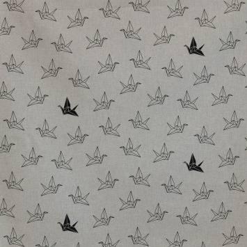Toile polycoton aspect lin imprimé origami