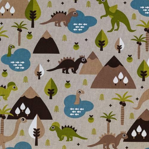 Toile polycoton aspect lin imprimé dinosaures