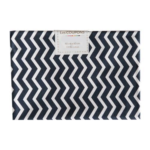 Coupon 40x60 cm coton bleu marine chevron