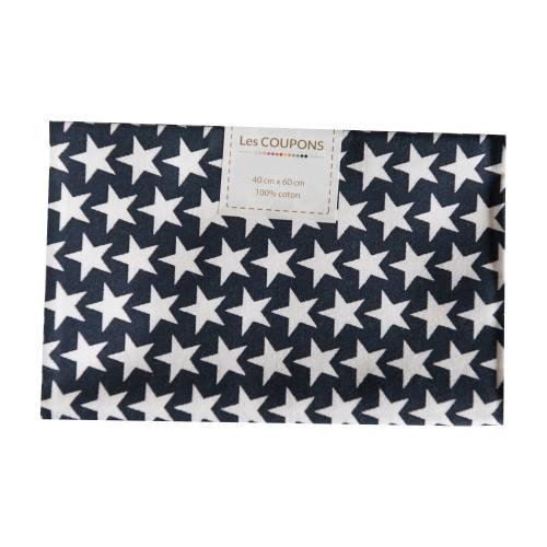 Coupon 40x60 cm coton bleu marine étoiles monroe