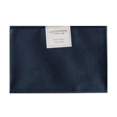 Coupon 40x60 cm coton uni bleu marine