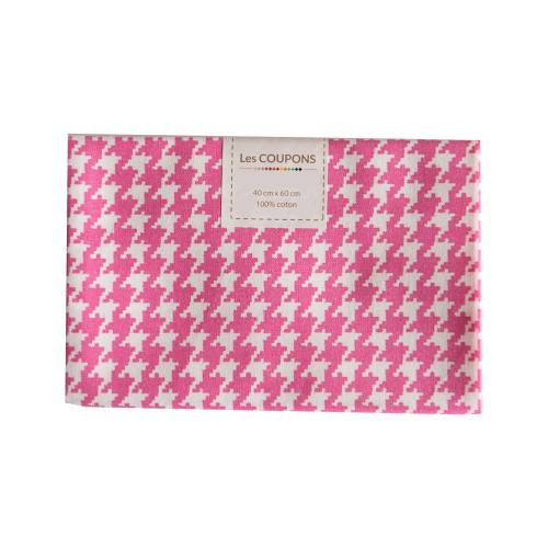 Coupon 40x60 cm coton rose pied de poule