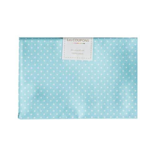 Coupon 40x60 cm coton turquoise petits pois 2mm