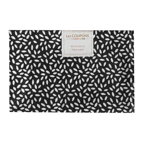 Coupon 40x60 cm coton noir grains de riz