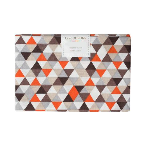 Coupon 40x60 cm coton trimix marron et orange
