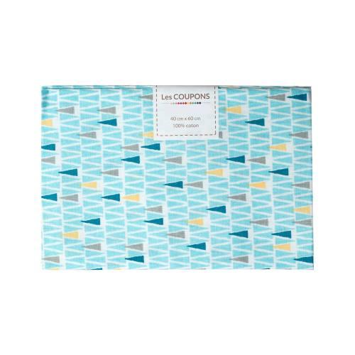 Coupon 40x60 cm coton oyan bleu