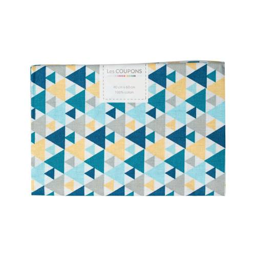 Coupon 40x60 cm coton triangle bleu