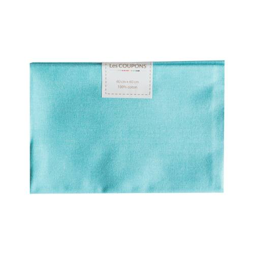 Coupon 40x60 cm coton uni turquoise