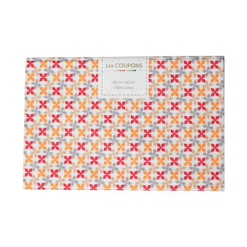 Coupon 40x60 cm coton kebull rouge, orange, beige et gris