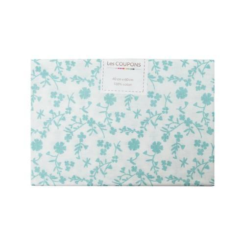 Coupon 40x60 cm coton fleurs margneg vert d'eau