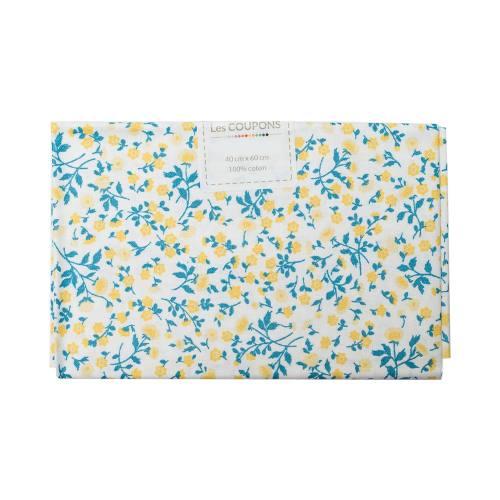 Coupon 40x60 cm coton liberty bleu et jaune