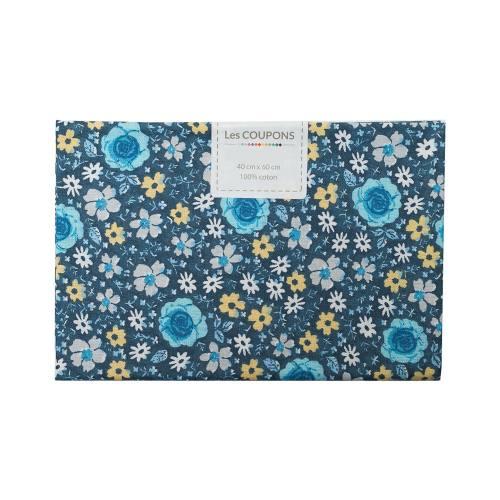Coupon 40x60 cm coton anisley bleu et jaune