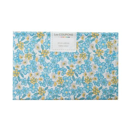 Coupon 40x60 cm coton fleurs lilas bleues et jaunes