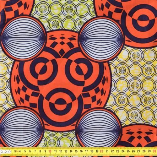 Wax - Tissu africain jaune et anis motif cercles orange 19