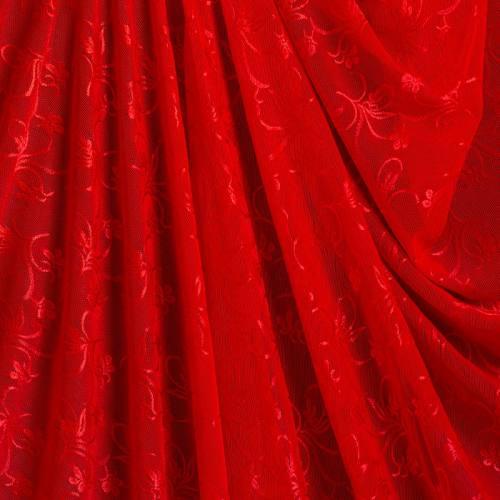 Dentelle extensible rouge motif fleuri