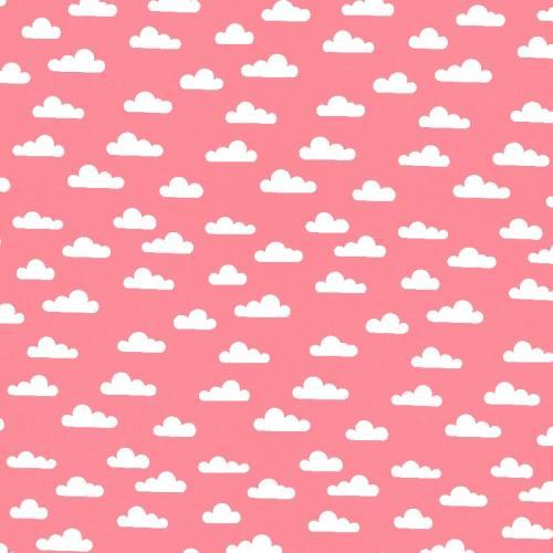 Popeline corail nuage
