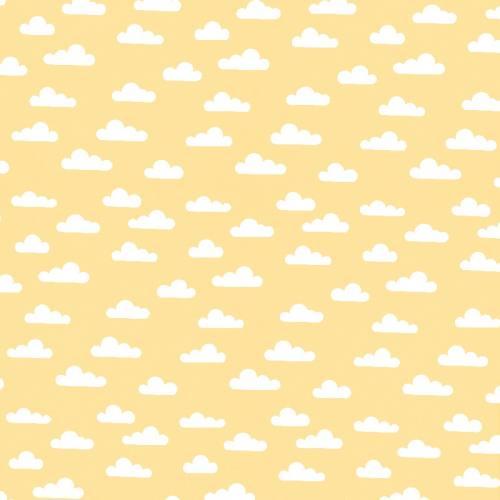 Popeline jaune pastel nuage