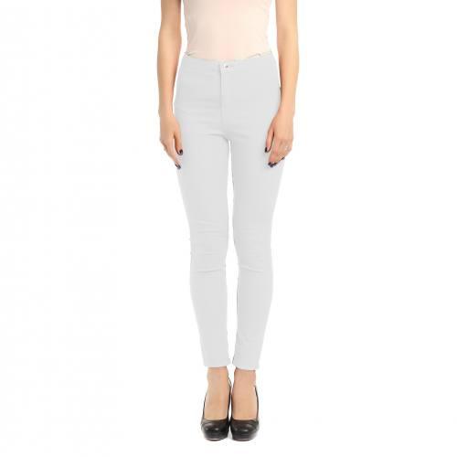 Tissu jean uni blanc