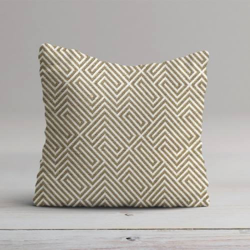 Jacquard kaki et beige motif labyrinthe