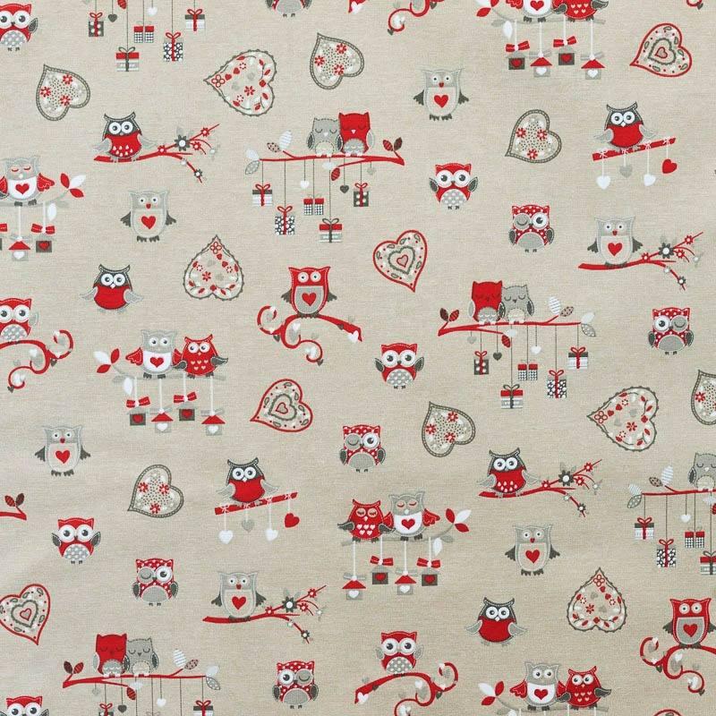 toile polycoton hibou rouge gris grande largeur pas cher. Black Bedroom Furniture Sets. Home Design Ideas