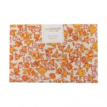 Coupon 40x60 cm coton fleurs sarina orange