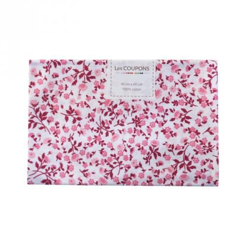 Coupon 40x60 cm coton liberty rose et bordeaux