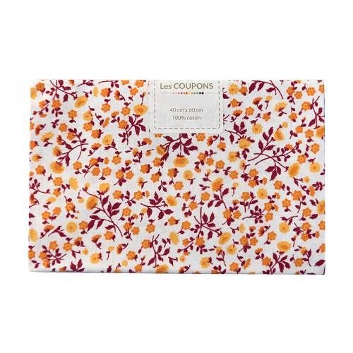 Coupon 40x60 cm coton liberty orange et bordeaux
