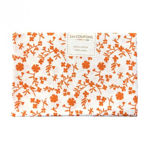Coupon 40x60 cm coton fleurs margneg orange