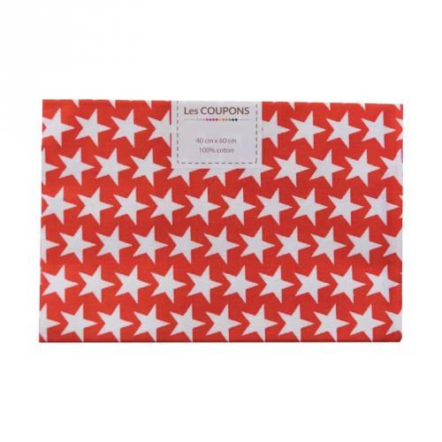 Coupon 40x60 cm coton rouge étoiles monroe