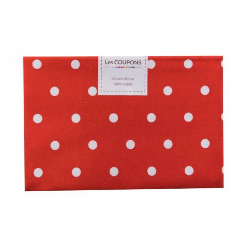 Coupon 40x60 cm coton rouge gros pois
