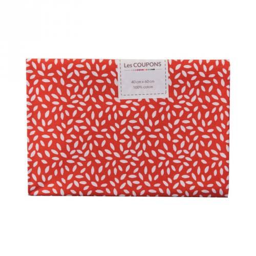 Coupon 40x60 cm coton rouge grains de riz