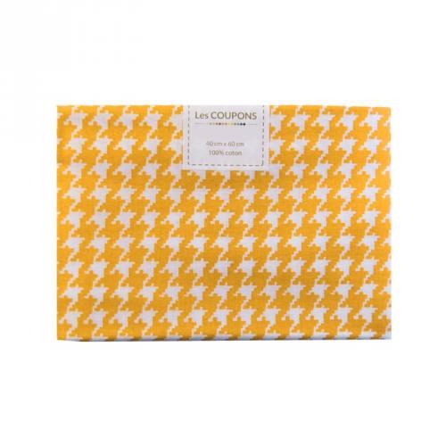 Coupon 40x60 cm coton jaune safran pied de poule